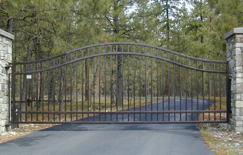 single swinging wrought iron residential gate installation in Hickory